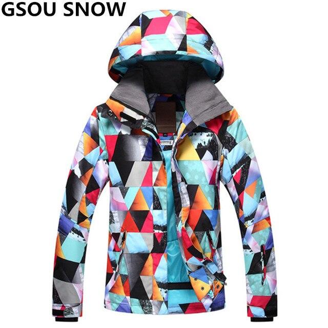 c152309ac GSOU SNOW Women Ski Jacket Super Warm Girls Snow Jacket Waterproof ...