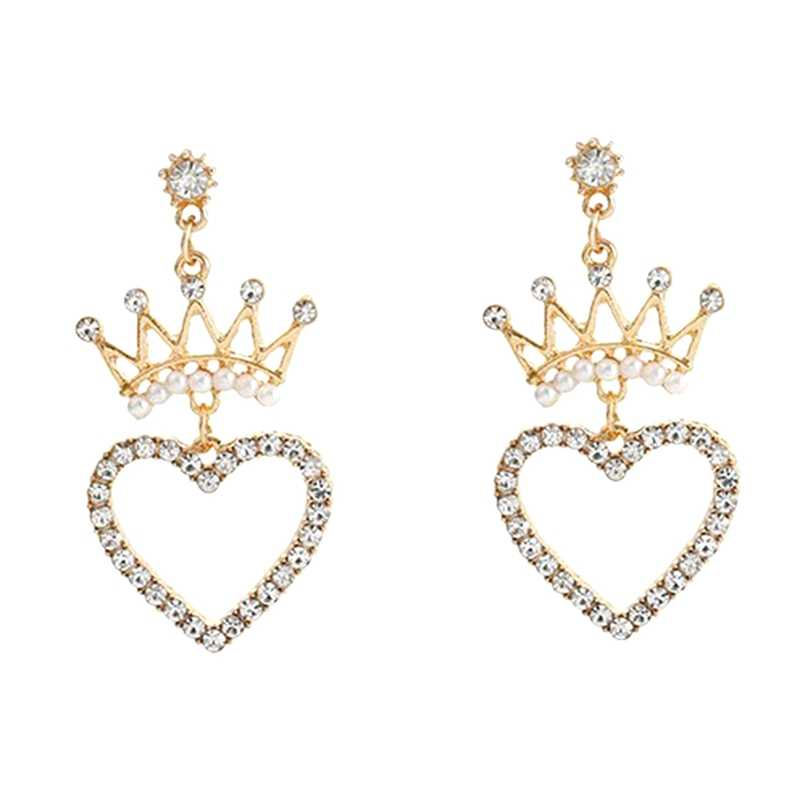 1Pair Pearl Crown Love Heart Earrings Japan and Korea Temperament Heart Shaped Long Earrings Bridal Wedding Jewelry Lover Gifts