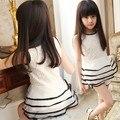 Розничная Девочки-Подростки Летом Стиль Одежды Устанавливает Цветочные Кружева Многоуровневая Органзы Dress Топ и Шорты Комплект для Девочек Устанавливает Белый