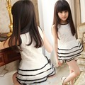 Retail Teenage Girls Summer Style Clothing Sets Floral Lace Layered Organza Dress Top & Shorts Set for Girls Sets White