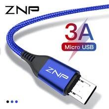 Znp cabo micro usb de 1m e de 2m, 3a, cabo micro usb para samsung, xiaomi, carregador micro usb, carregamento rápido, cabos de dados para samsung s7 telemóvel