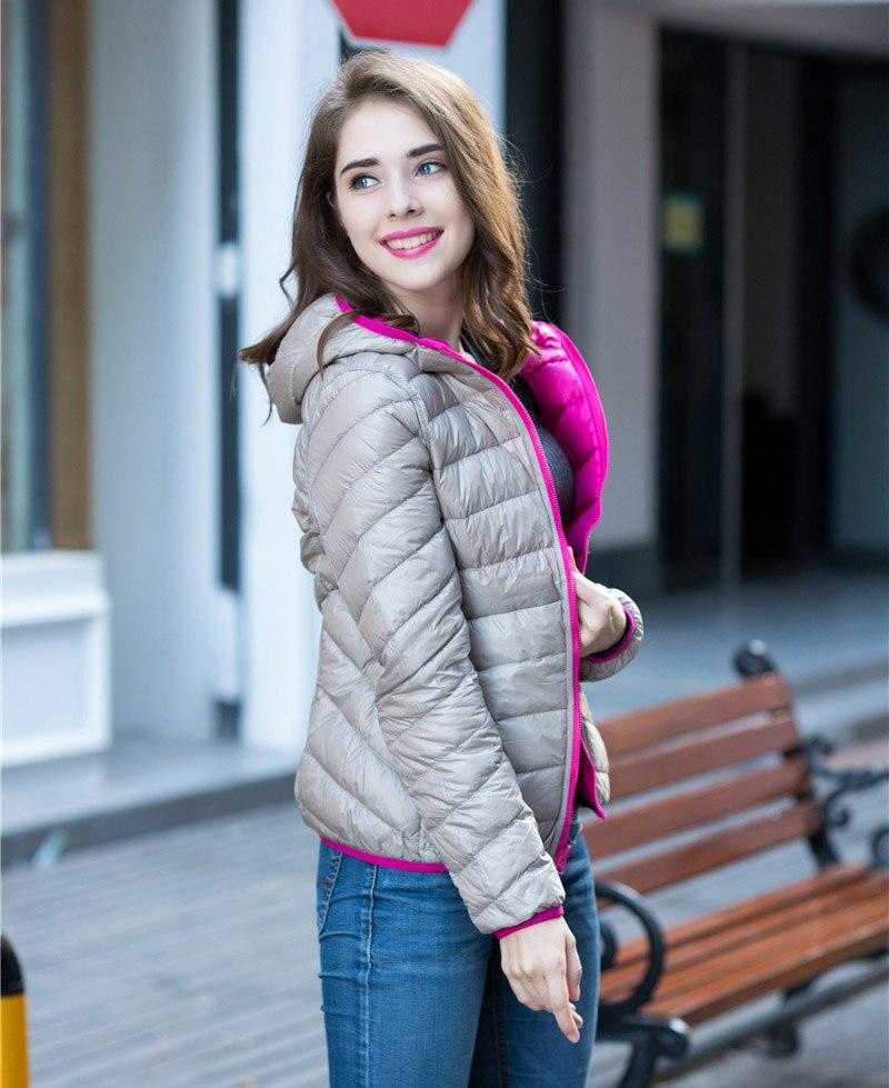 Женская куртка на 90% белом утином пуху с капюшоном ультра легкие пуховики Реверсивные женские парки двухсторонняя одежда