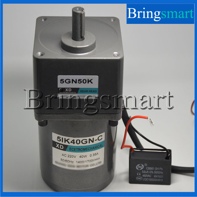Bringsmart 220V AC Gear Motor Low-Speed Single-Phase Motor 40W  Fixed Speed with Capacitance 40w ac 220 240v 50 60hz low rpm gear reducer motor and speed controller cw ccw reverse forward motor variable speed optional