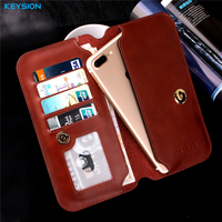 KEYSION Luxury Genuine Leather 4 5 7 Inch Universal Pouch Case For IPhone 7 6 Plus