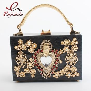 Fashion diamond silver heart-shaped hollow acrylic box shape ladies party handbag shoulder bag women's crossbody messenger bag