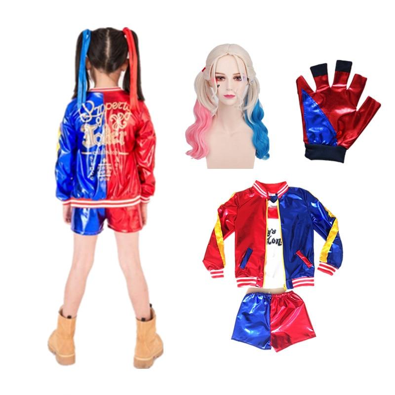 24hrs versendet Harley Quinn Cosplay Kostüme Kinder Mädchen Purim Mäntel Femme Jacke Chamarras De Batman Para Mujer Anzug mit Perücke glo