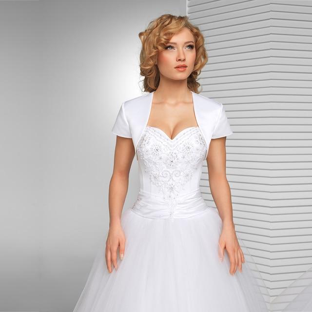 New Arrival White Bridal jacket Wedding Satin Shrug Bolero Cap ...