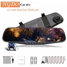 """HGDO 4,"""" Автомобильный видеорегистратор с двумя объективами, автомобильная камера Full HD 1080 P, видео рекордер, зеркало заднего вида с видеорегистратором заднего вида, видеорегистратор"""