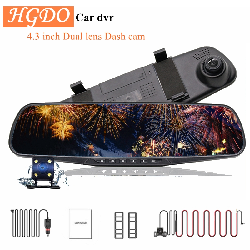 HGDO 4,3 ''CÁMARA DE COCHE DVR de doble lente de coche Full HD 1080P Video grabadora espejo retrovisor con vista trasera DVR Dash cam