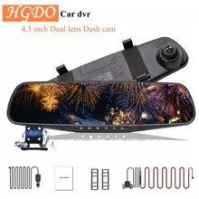 Hgdo 4.3 dvr dvr carro dvr câmera de lente dupla completa hd 1080p gravador de vídeo espelho retrovisor com vista traseira traço cam