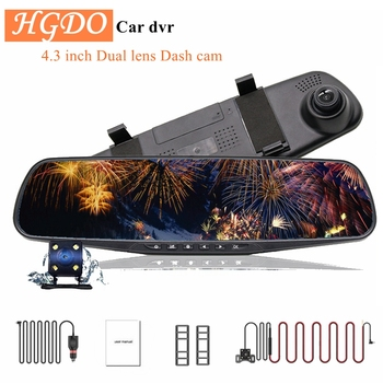 цена на HGDO 4.3''Car DVR Dual Lens Car Camera Full HD 1080P Video Recorder Rearview Mirror With Rear view DVR Dash cam
