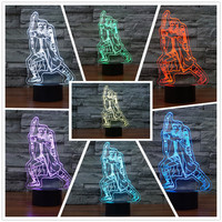 The Eagle Eye 3D LED Night Light 7 Colors Changing Dimming Illusion Bedroom Lamp Holiday Light