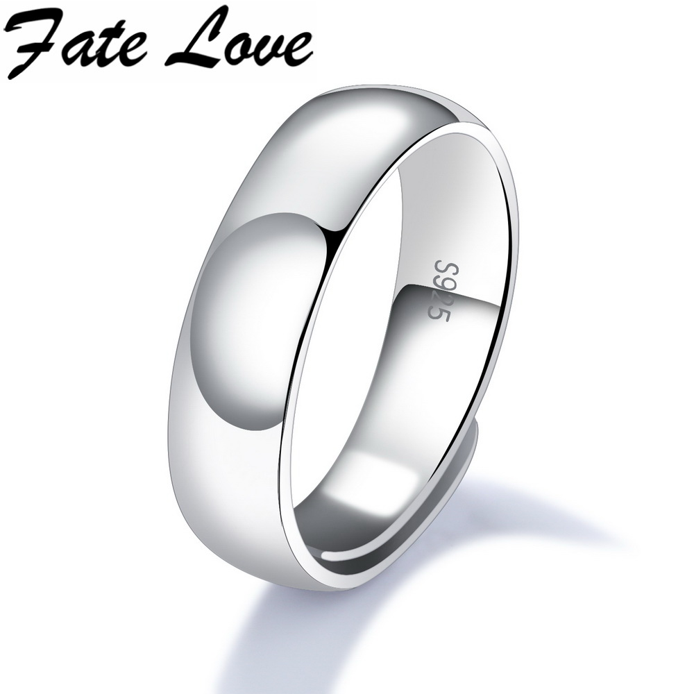Fate Love Hot Sale Elegant 925 Sterling Silver Unisex Rings For Man Woman Wedding Ring Fashion Adjustable Jewelry Engraved FL003