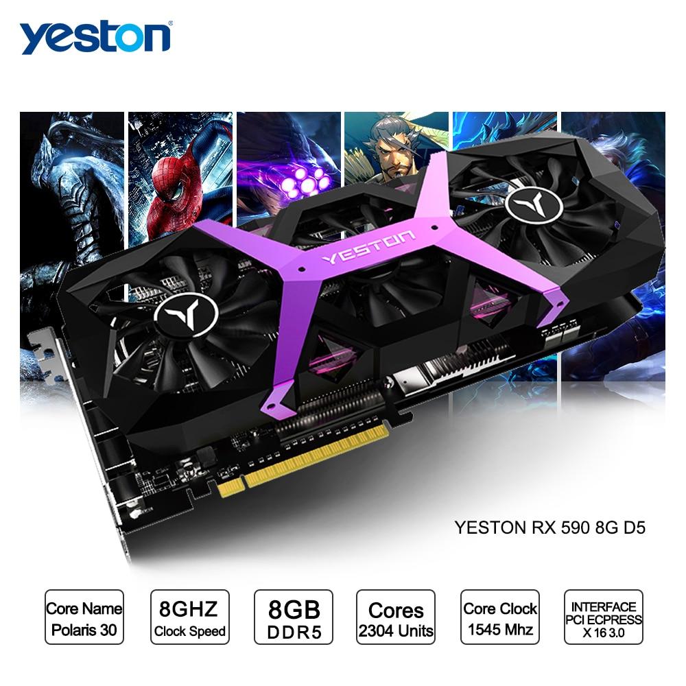 Yeston Radeon RX 590 GPU 8 GB GDDR5 256bit игровой настольный компьютер ПК видео Графика карты Поддержка сигнала от DVIHDMI PCI E X16 30 купить на AliExpress