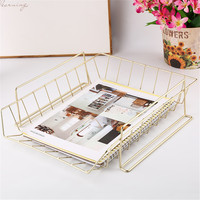 Office Desktop Stackable Gold Metal Storage Basket Nordic Multifunction A4 Book Magazine Sundries Finishing Basket Organizer