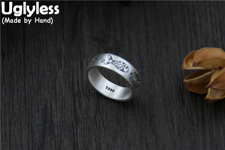 Uglyless Real S990 Silver Fine Jewelry for Women Handmade Carve Lotus Finger Rings Lovely Fishes Totem Ethnic Ring Floral BijouxUglyless Real S990 Silver Fine Jewelry for Women Handmade Carve Lotus Finger Rings Lovely Fishes Totem Ethnic Ring Floral Bijoux