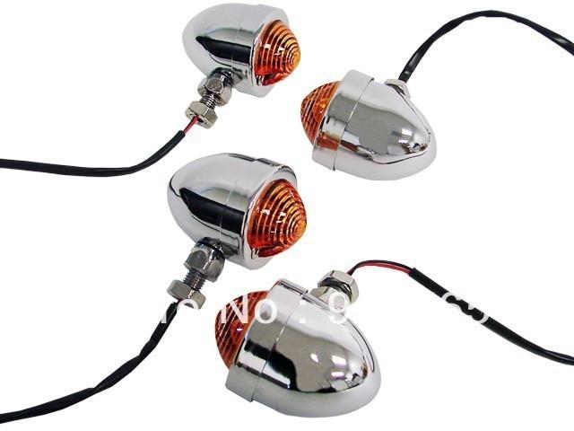 2 Pair CHROME Panhead Amber Turn Signal Light for Harley honda yamaha kawasaki suzuki ducati Bobber Custom Chopper Cafe Cruiser