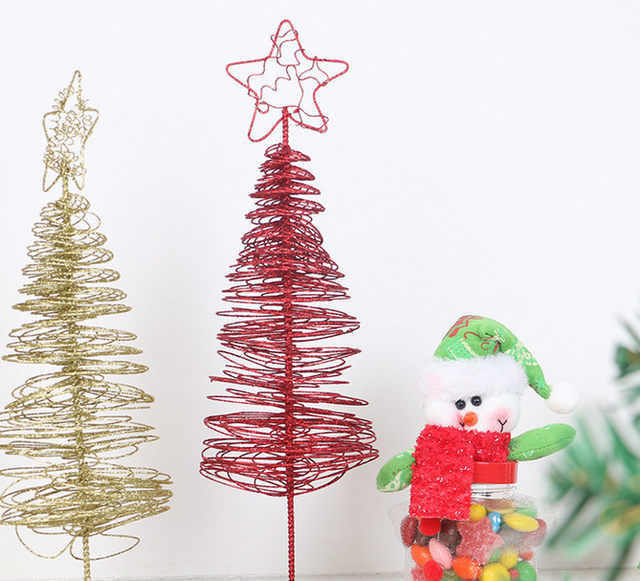 holiday home outdoor ornament large wrought iron crafts star metal wire standing christmas tree vintage christmas decorations - Metal Christmas Decorations