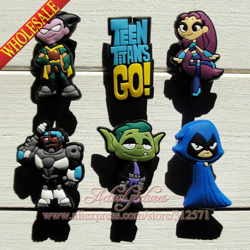 30pcs Teen Titans PVC Shoe Charms For Silicone Wristbands & shoes with holes Mixed 6 Models shoe decoration shoe accessoreis