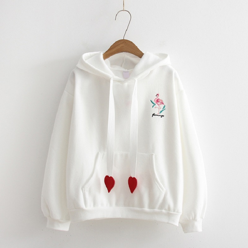 Winter Womans Hoodie Harajuku Wind Embroidery Kawaii Love Lace Pullover Women Sweatshirt