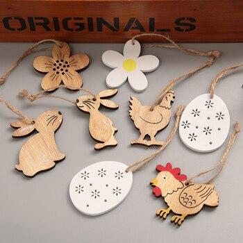 8 teile/satz Ostern Kaninchen Ei Holz Dekor Handwerk Holz Chips Ausschnitte Tags Ostern Anhänger Hängende Ornamente Hand handwerk