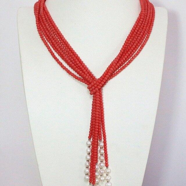 Moda Rosa orange coral artificial 5mm redondo blanco perla encantadora 3  hilos nueva moda bufanda 50 c1d755c2ff3