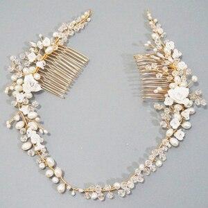 Image 1 - Delicate Süßwasser Perlen Braut Kopfstück Strass Kristall Haar Reben Crown Hochzeit Doppel Haar Kamm Bräute Haar Zubehör