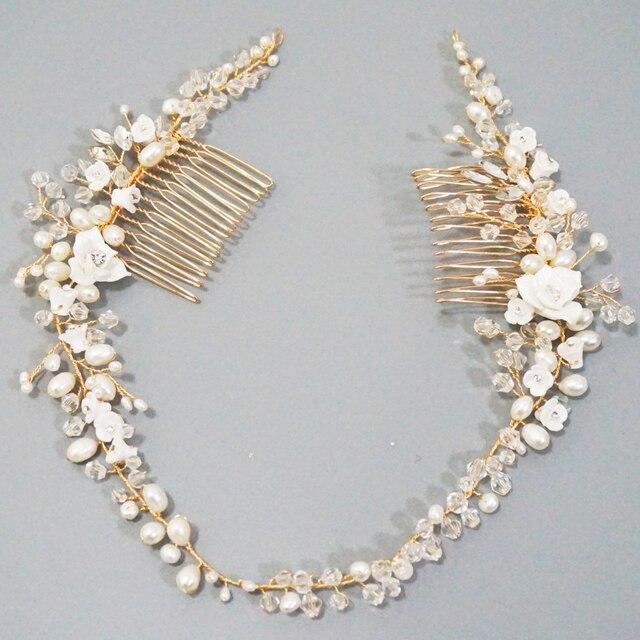 Delicate Süßwasser Perlen Braut Kopfstück Strass Kristall Haar Reben Crown Hochzeit Doppel Haar Kamm Bräute Haar Zubehör