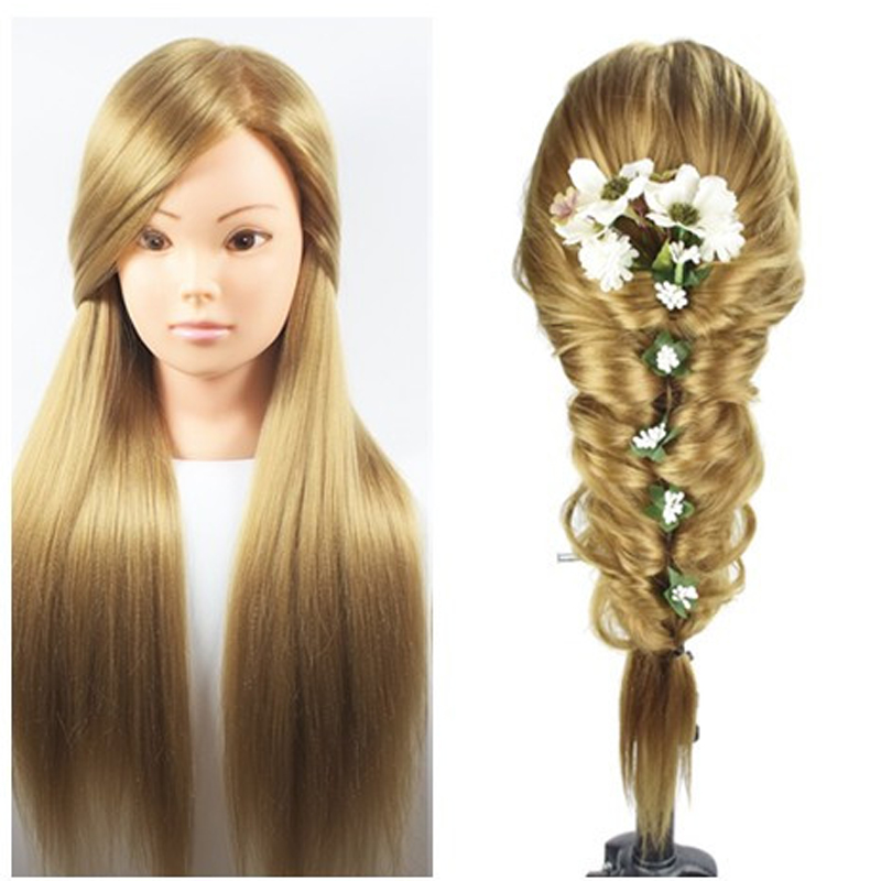"26"" 100% High Temperature Fiber Blonde Long Hair Hairdressing Training Head Model with Clamp Stand Practice Salon Mannequin Head"