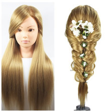 "26"" 100% High Temperature Fiber Blonde Long Hair Hairdressing Training Head Model with Clamp Stand Practice Salon Mannequin Head(China)"