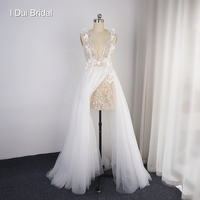 Spaghetti Strap Wedding Dress with Split Sequin Corset Skirt Inside Tulle Layer with Flower New Style