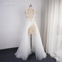 Spaghetti Strap Wedding Dress with Split Sequin Corset Skirt Inside Tulle Layer Flower New Style