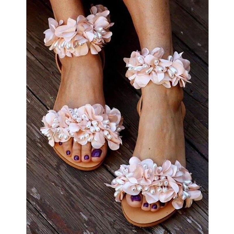 NAN JIU MOUNTAIN Summer Flat Sandals Women Flowers Handmade Beaded Rhinestones Pearl Lady Wind Plus Size 34-43