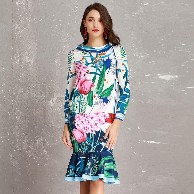 neck Plein Chemises Jupes 2 Minces Costumes Doux Sirène Qualité Printemps 2019 Imprimé Jolie Floral Haute Pièces Ensembles De Manches O q6TRwPZ