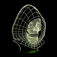 3D Skull Head Colorful Light Touch Sensor Sensitive LED Night Light Night Light For Home Baby