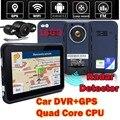 16 Гб, Android 4.4, Wifi, камера DVR для автомобиля, мотоцикла, GPS навигация, радар детектор, быстрая камера, две камеры, 7 дюймов экран, Full HD1080P, FM