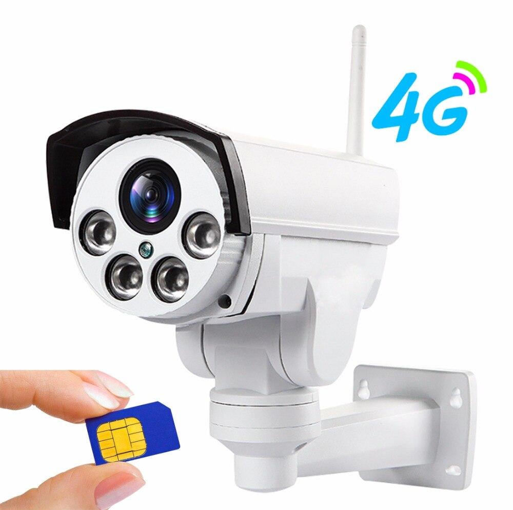 YSA 4g 3g caméra IP PTZ 5X Zoom Vidéo CCTV Étanche Extérieure 1080 p IP caméra IR 50 m Vision Nocturne Sécurité avec Adaptateur secteur