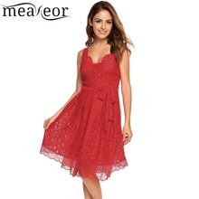 Meaneor Lace Hollow Out A-Line Pleated Hem Dress with Belt Dress Double Wave V-Neck and Layers Hem Bow Waist Elastic Vestidos ladder cut out detail dip hem lace dress