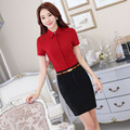 Formal Uniform Style Summer Short Sleeve Professional Business Suits With 2 Piece Tops And Skirt Office Ladies Beauty Salon Sets