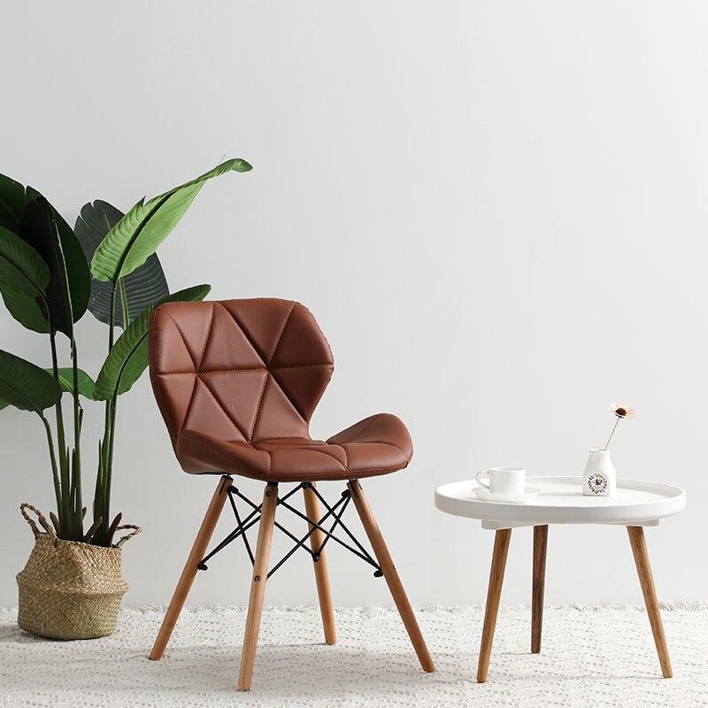 Современный минималистичный стол компьютерный стул домашний Ресторан обеденный стул из твердой древесины скандинавский диван спинка макияж пляж - Цвет: F