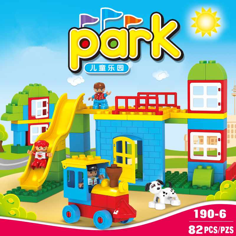 82PCS Big Size Diy Building Blocks Happy Track Amusement Park Bricks Compatible with Legoingly Duplo Toys for Kids Baby Gifts