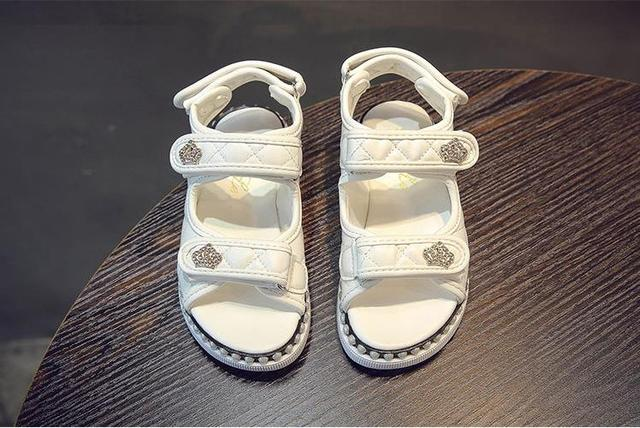 Girls Shoes Summer Princess Sandals Kids Girls Casual Shoes Flat Leather Summer Beach Shoes