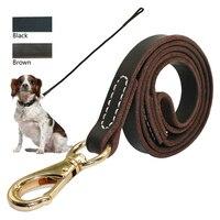 Heavy Duty Handmade Leather Dog Leash Lead Dark Brown Black With Gold Hook Best For Walking