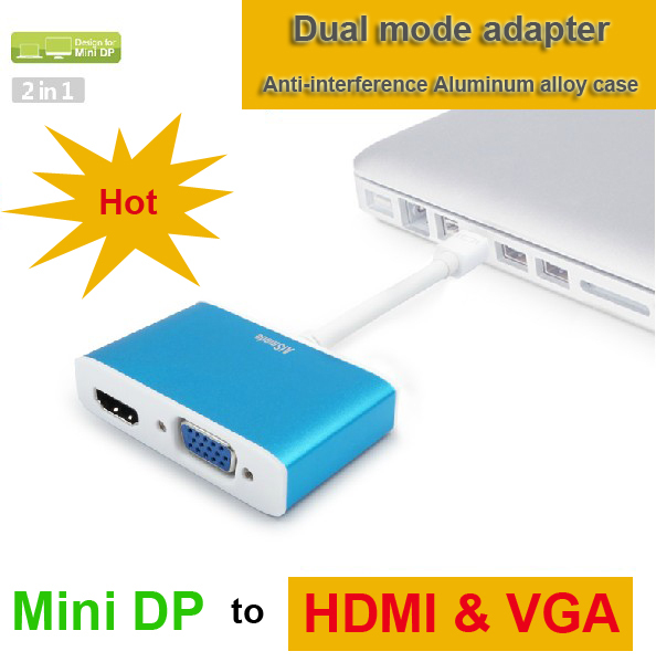 ФОТО HOT selling thunderbolt mini DP to HDMI adapter for Macbook/Laptop DP to VGA adapter quality guarantee drop/free shipping