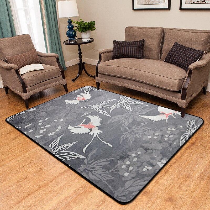 Style chinois imprimé prune tapis chambre salon chambre baie fenêtre décontracté couverture tapis antidérapant - 4