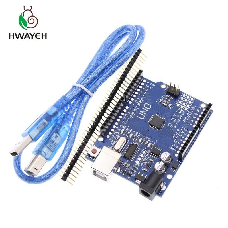 HWAYEH de alta calidad conjunto UNO R3 CH340G + MEGA328P Chip 16 Mhz para Arduino UNO R3 Placa de Desarrollo + CABLE USB
