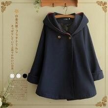 Осенне-зимнее шерстяное пальто-плащ в стиле летучей мыши, женское повседневное пальто с длинным рукавом, однотонное темно-синее хлопковое Женское пальто с капюшоном на одной пуговице, V338