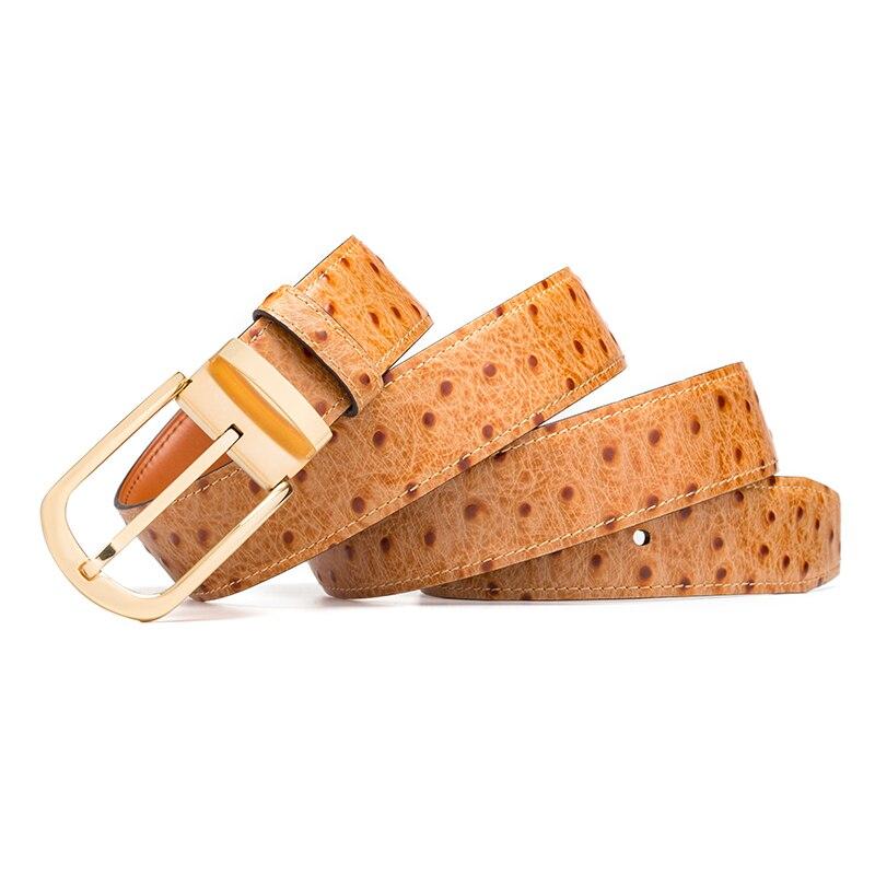Cinturón de cuero genuino hombres patrón de avestruz piel de vaca cinturones masculinos para hombres cinturón dorado diseñador de alta calidad marca de lujo - 3