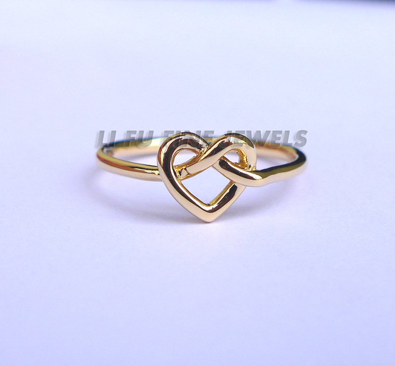 Solid Yellow Gold Infinity Knot Heart Ring solid knot hem tee