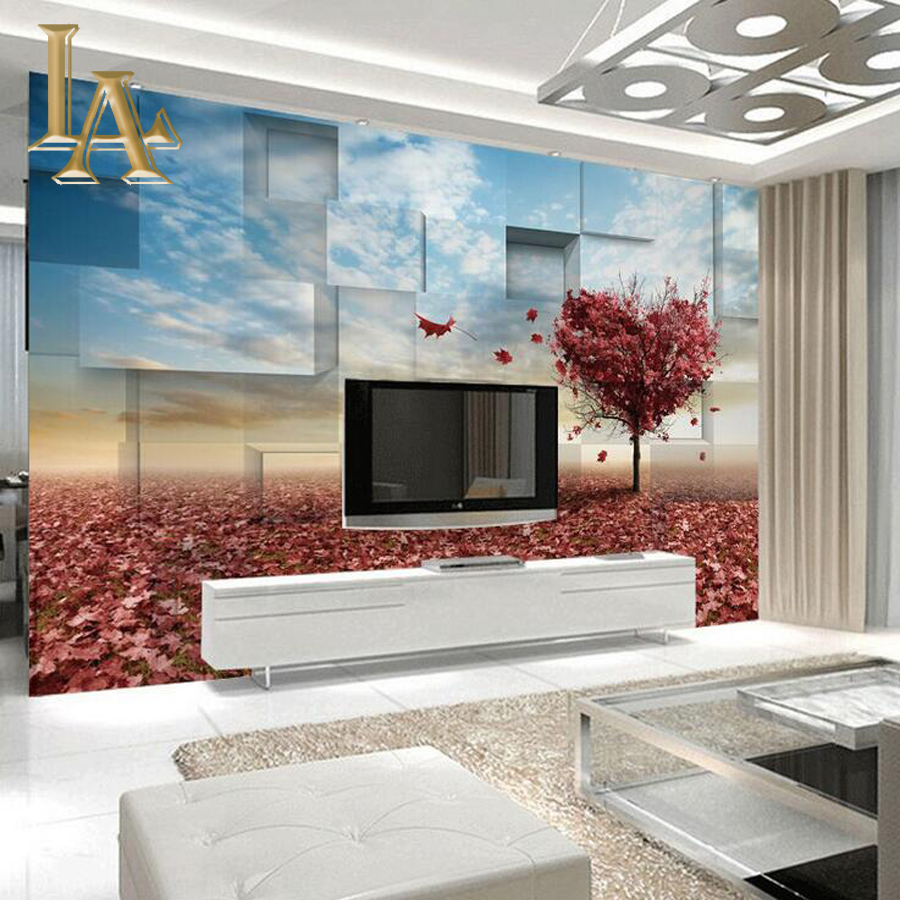 Customize Any Size 3D Red Defoliation Maple Bedroom TV Background Wall Paper Home Decor Living Room Non-woven Mural Wallpaper